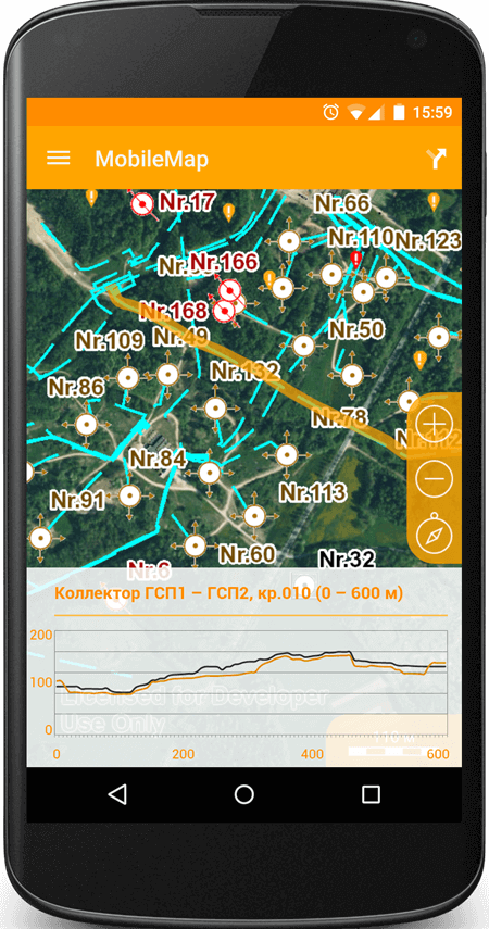 Building a longitudinal profile of an underground utility system on the mobile phone map