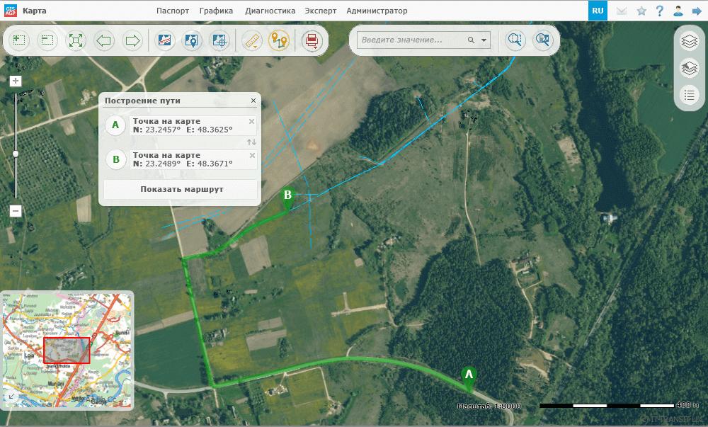 Системы по работе с пространственными и графическими данными, управление пространственными данными, автоматизированное определение оптимальных путей подъезда к указанному пункту на карте