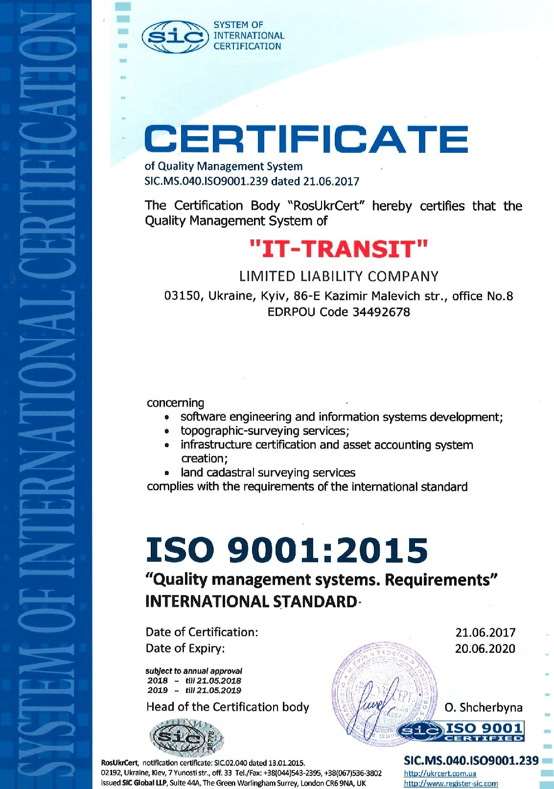 Certificate international standard of ISO 9001:2015