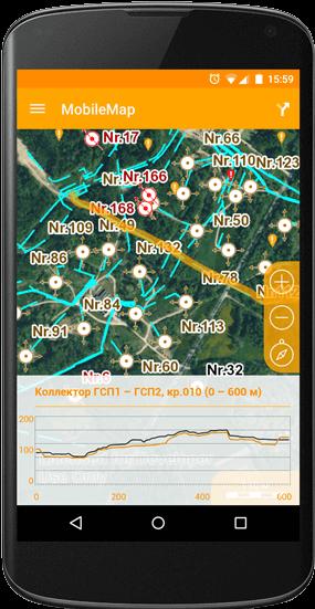 Построение продольного профиля подземной коммуникации на карте на мобильном