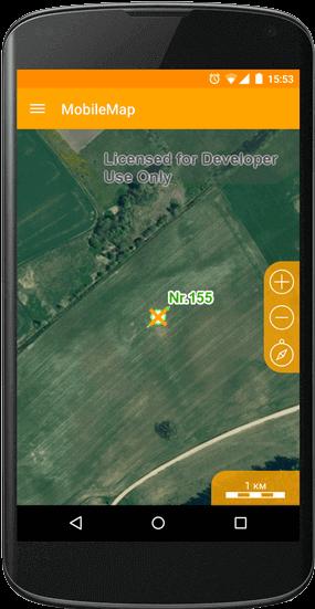 Отображение объекта на карте мобильного устройства