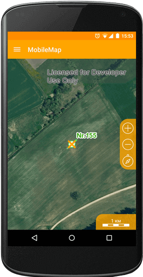 Displaying an object on the mobile device's map