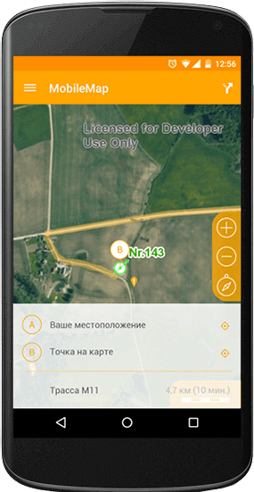 Spatial data on a mobile device, building an optimal route on a map