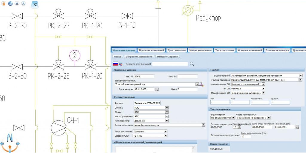 Локализация средства измерения на технологической схеме