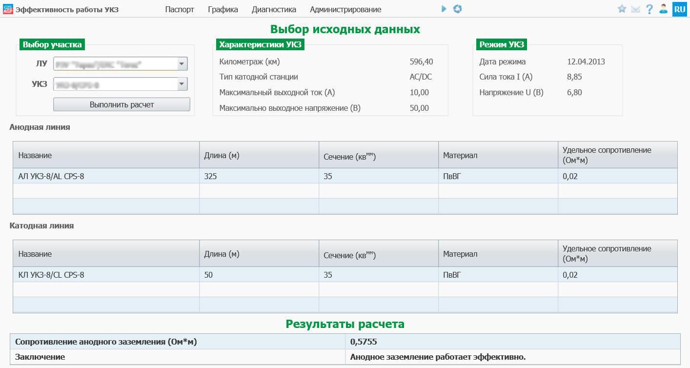 Система для расчета эффективности работы УКЗ