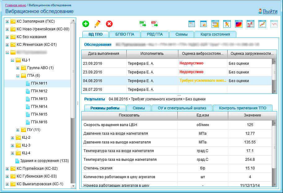 Ведення інформації про вібраційне обстеження, вібраційне обстеження обладнання ПО