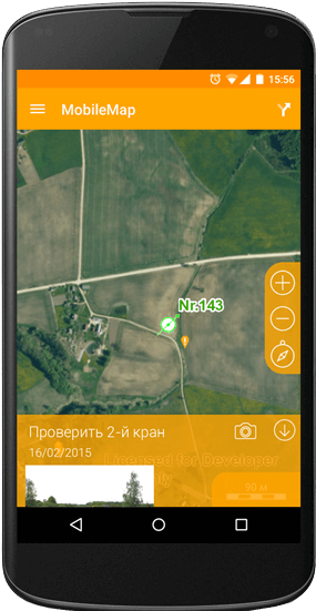 Adding user's notes on the map in the mobile phone